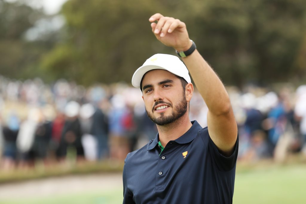 MELBOURNE, AUSTRALIA - DECEMBER 14: Abraham Ancer of Mexico and the International team celebrates after he and Sungjae Im of South Korea and the International team defeated Xander Schauffele of the United States team and Patrick Cantlay of the United States team 3&2 during Saturday four-ball matches on day three of the 2019 Presidents Cup at Royal Melbourne Golf Course on December 14, 2019 in Melbourne, Australia. (Photo by Rob Carr/Getty Images)