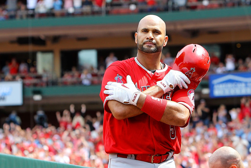 ST. LOUIS, MO - JUNE 22: Albert Pujols #5 of the Los Angeles Angels of Anaheim gives fans a curtain call after hitting a solo home run during the seventh inning against the St. Louis Cardinals at Busch Stadium on June 22, 2019 in St. Louis, Missouri. (Photo by Scott Kane/Getty Images)