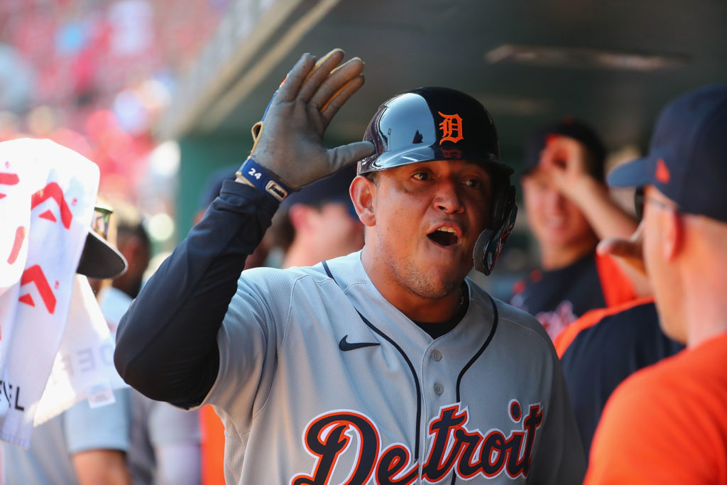 ST LOUIS, MO - AUGUST 25:  Miguel Cabrera #24 of the Detroit Tigers celebrates after scoring the game-tying run against the St. Louis Cardinals in the ninth inning at Busch Stadium on August 25, 2021 in St Louis, Missouri. (Photo by Dilip Vishwanat/Getty Images)