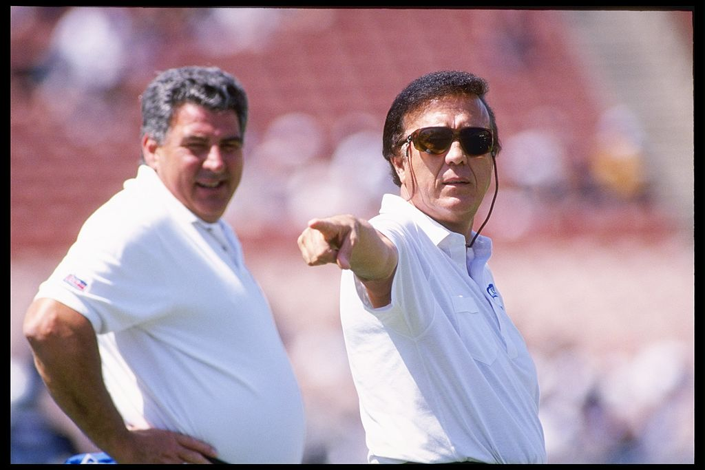 11 Sep 1994:  Coach Tom Flores of the Seattle Seahawks watches his team during a game against the Washington Redskins at RFK Stadium in Washington D.C.  The Seahawks won the game 38-7. Mandatory Credit: J.D. Cuban  /Allsport